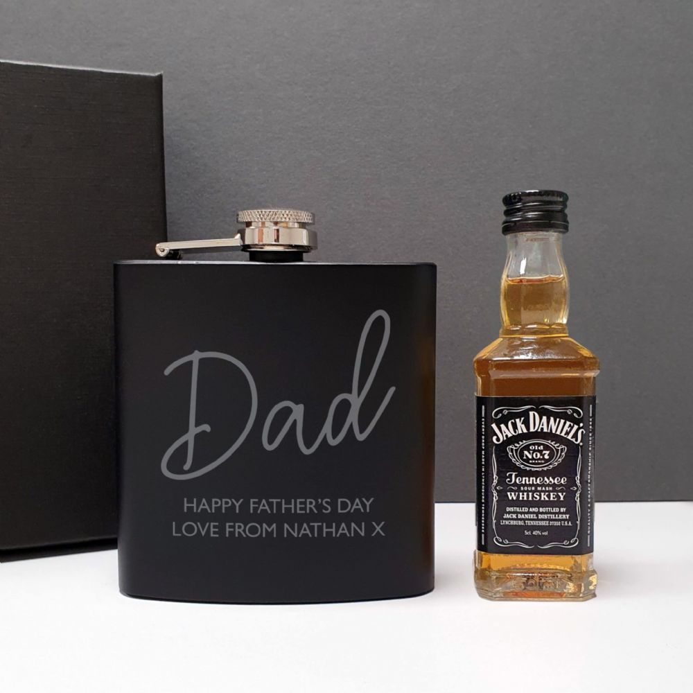 Personalised Black Hip Flask and Minature Jack Daniels Gift Set For Men.  Great gift idea for Fathers Day and Birthdays.